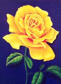 Malerei, Gelb, Rose, Ölmalerei