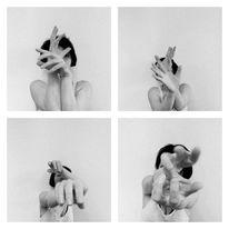 Schwarzweiß, Selfie, Hände, Hand
