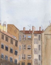 Urban sketching, Aquarellmalerei, Aquarell, Hinterhof