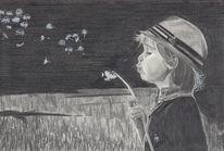 Zeichnung, Weißer gelschreiber, Bleistiftzeichnung, Pusteblumen
