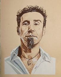 Portrait, Wasservermalbare kreide, Serj tankian, Art graf