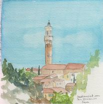 Siena, Aquarellmalerei, Plain air, Aquarell