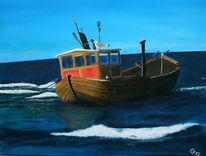 Meer, Blau, Malerei, Fischerboot