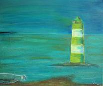Flasche, Leuchtturm, Pastellmalerei, Acrylmalerei