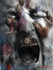 Menschenrechte, Fotomontage, Wut, Schmerz
