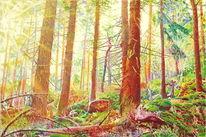 Sonnenlicht, Naturmalerei, Gegenständlich, Gegenlicht