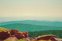 Landschaft, Naturmalerei, Felsturm, Wald