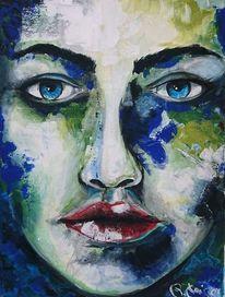 Frau, Blau, Grün, Malerei
