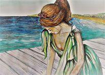 Frau, Strand, Meer, Steg