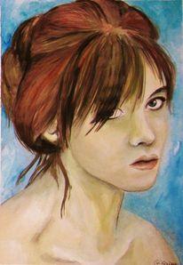 Aquarellmalerei, Baden, Mädchen, Wasser
