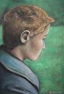 Wiese, Mann, Junge, Malerei