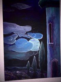 Blauer turm, Landschaft, Malerei, Turm