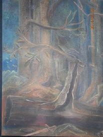 Zauberwald, Kreide auf karton, Malerei, Mythologie