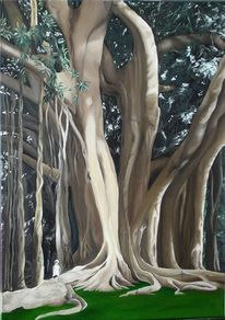 Regenwald, Urwald, Malerei, Ölmalerei