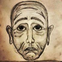 Trauer, Emotion, Zeichnung, Bleistiftzeichnung