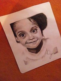 Mädchen, Bleistiftzeichnung, Portrait, Kohlezeichnung