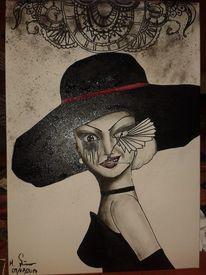 Schwarzer hut dame, Malerei