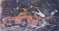 Sportwagen, Flügeltürer, Mercedes benz, Druckgrafik