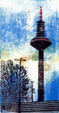 Park, Skyline frankfurt, Turm, Druckgrafik