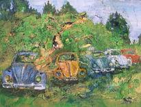 Gold, Käfer, Landschaft, Oldtimer