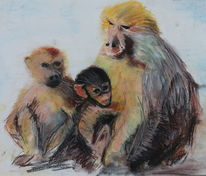 Affe, Familie, Tiere, Pavian