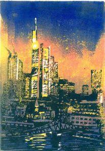 Turm, Skyline frankfurt, Fassade, Druckgrafik