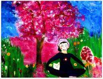 Frau, Meditation, Garten, Malerei