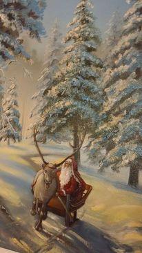 Weihnachtsmann, Schlitten, Tannenwald, Rentier