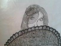 Zeichnung, Bleistiftzeichnung, Edding, Schwarz