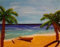 Acrylmalerei, Palmen, Landschaft, Malerei