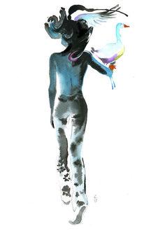 Figural, Frau, Aquarellmalerei, Druckgrafik