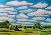 Elbe, Acrylmalerei, Landschaft, Farben