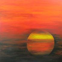 Farben, Acrylmalerei, Sonnenuntergang, Malerei