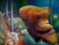 Sperling, Baum, Gemälde, Surreal