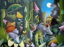Malerei, Natur, Urwald, Frosch