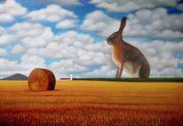 Malerei, Strohballen, Sommer, Surreal