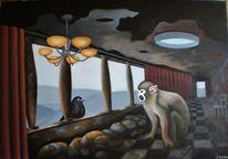 Totenkopfaffe, Vogel, Surreal, Landschaft