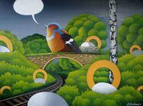 Surreal, Brücke, Gemälde, Landschaft
