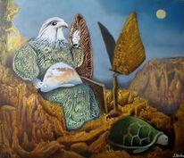 Gemälde, Vogelmensch, Surreal, Abklatschtechnik