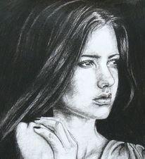 Frau, Schwarz weiß, Zeichnung, Portrait