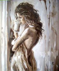 Ölmalerei, Braun, Frau, Alt