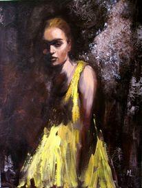 Frau, Ölmalerei, Figural, Engel