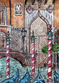 Gondel, Venedig, Aquarellmalerei, Meer