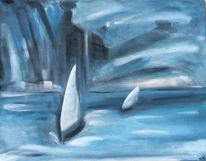 Marinemalerei, Wasser, Blau, Segel