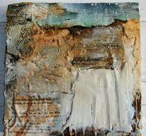Ölmalerei, Marmormehl, Rost, Collage