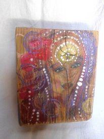 Mädchen, Naive malerei, Mädel, Abstrakt