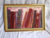 Struktur, Vintage, Acrylmalerei, Rahmen