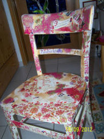 Decoupage bemalung stuhl, Kunsthandwerk, Stuhl