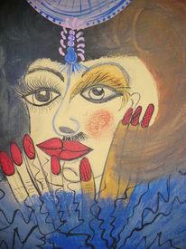 Frauen, Gesicht, Träumereien, Malerei