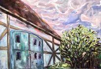 Alte scheune, Zeitgenössisch, Ölmalerei, Bauernhof